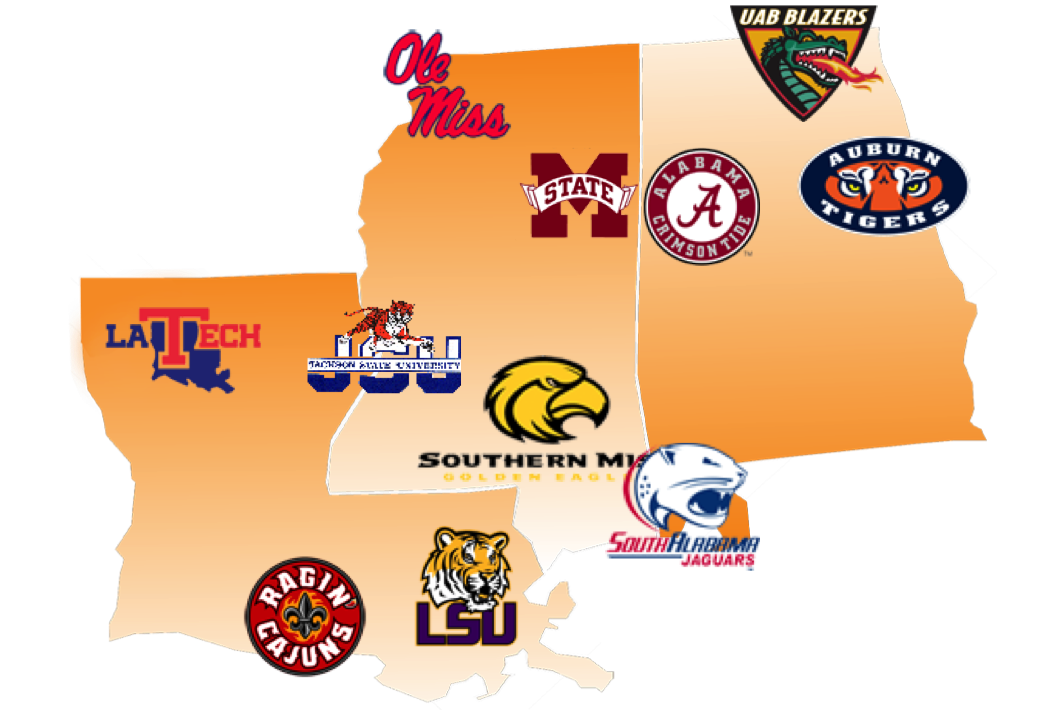 Image of tristate area with overlay of college logos.